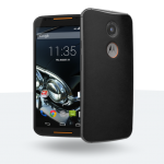 MotoMaker - Moto X : dos cuir noir, façade noire, finitions orange